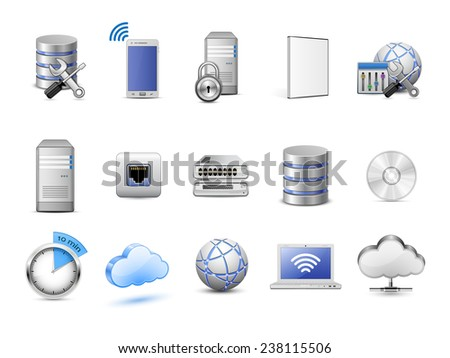 Cloud hosting icons. Servers, databases, network devices and cloud computing concept. Highly detailed vector icons - stock vector