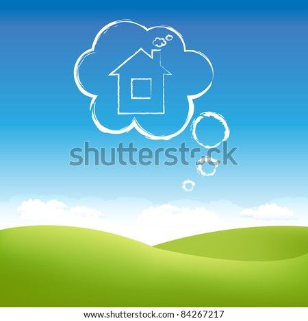 Cloud House In Air Over Grass Field, Vector Illustration - stock vector