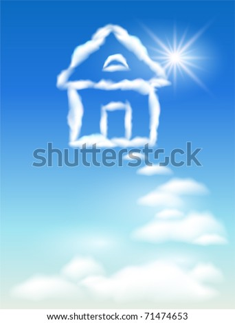Cloud house in the sky and sun - stock vector