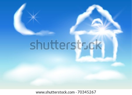 Cloud house in the sky and the moon - stock vector