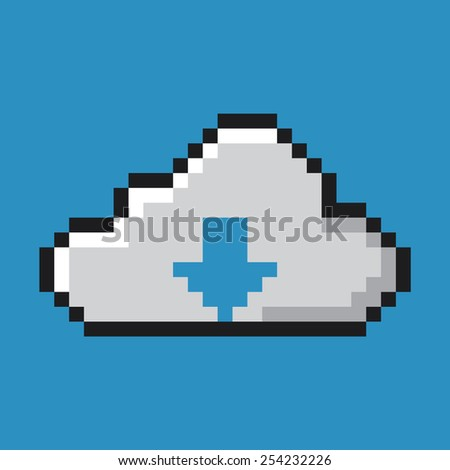 Cloud icon, download concept. Pixel art. - stock vector
