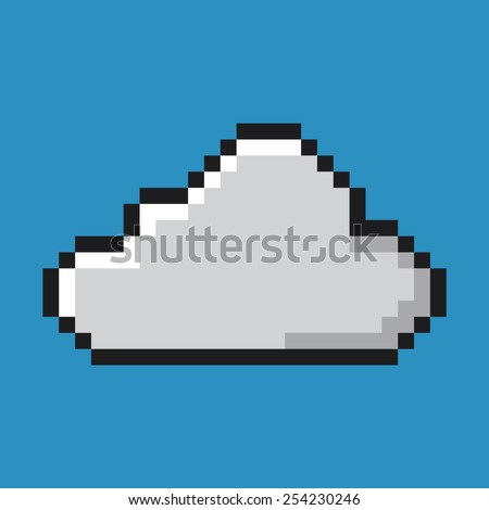 Cloud icon, pixel art. Network and computing concept.