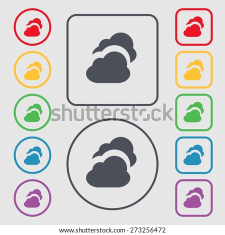 Cloud icon sign. symbol on the Round and square buttons with frame. Vector illustration - stock vector
