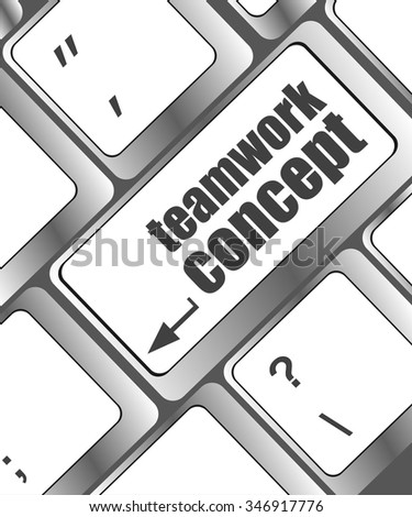 cloud icon with teamwork concept word on computer keyboard key vector illustration