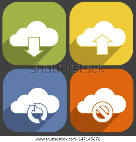 Cloud icons set in Long Shadow Style - stock vector
