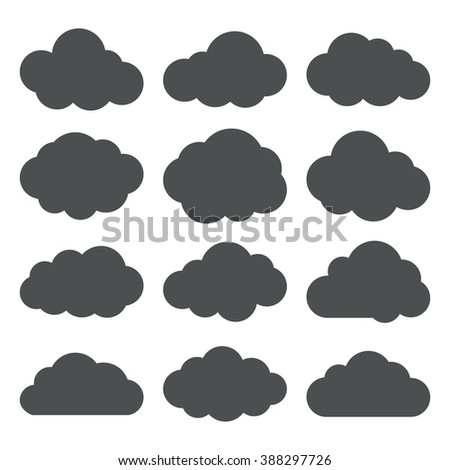 Cloud icons set. Vector silhouettes of a clouds. Black on white. Vector illustration. - stock vector