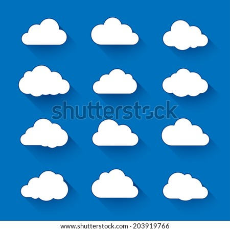 Cloud icons with long shadow. Vector illustration of clouds collection