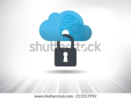 Cloud Identity Security Concept. Cloud icon with fingerprint locked with padlock. Layered file for easy customization. Fully scalable vector illustration. - stock vector