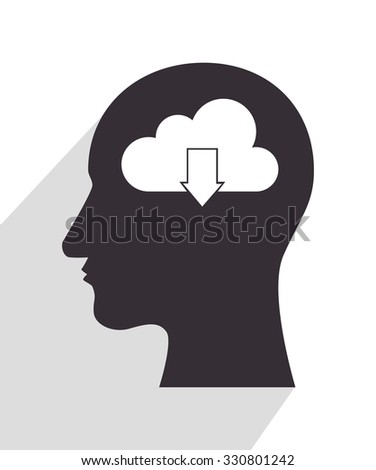cloud in head silhouette graphic design, vector illustration