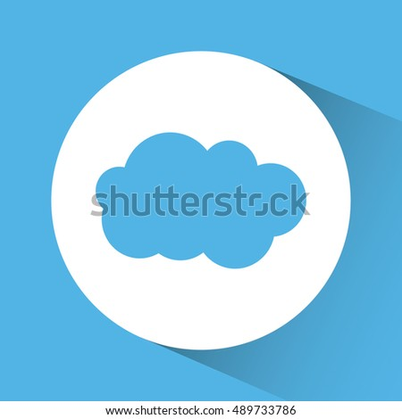 Cloud inside circle icon. Weather sky nature and season theme. Blue and white design. Vector illustration