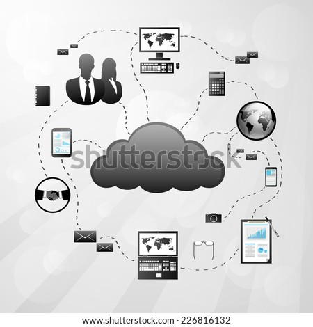Cloud internet connection digital electronic device icon Vector Illustration - stock vector