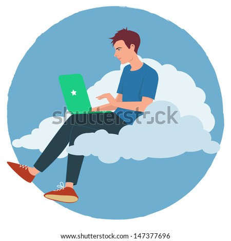 Cloud Internet. Young man working on a laptop sitting on a cloud - stock vector