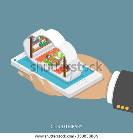 Cloud library flat isometric vector concept. Mans hand takes a smartphone with library with shelves of books inside a cloud. Reading, learning online, - stock vector