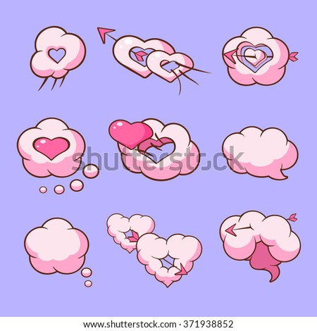 Cloud love hearts comic elements for Valentines Day Vector illustration