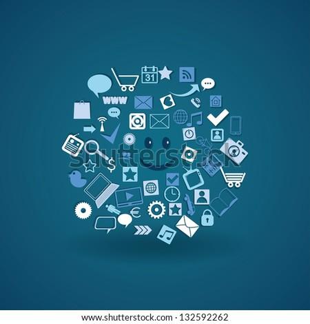 Cloud media. social media elements. vector eps10 - stock vector