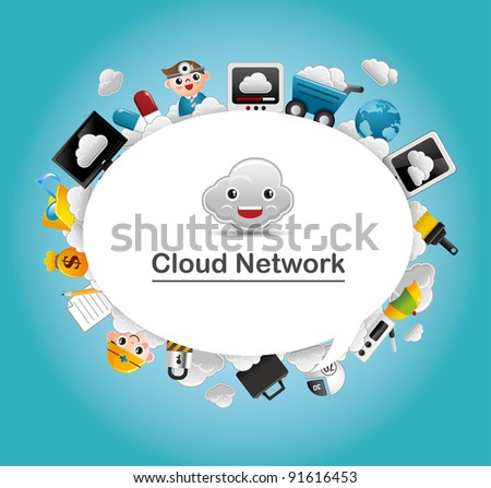 Cloud network card - stock vector