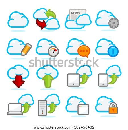 Cloud Network icon set - stock vector