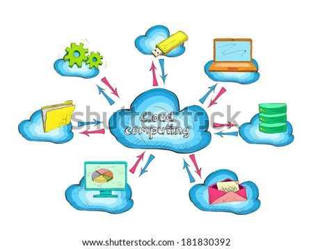 Cloud network technology service with connected devices and computers concept icon vector illustration - stock vector