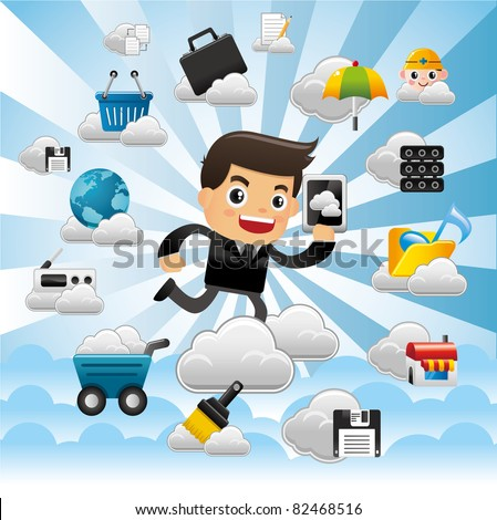 Cloud network,with business man hold pad. - stock vector