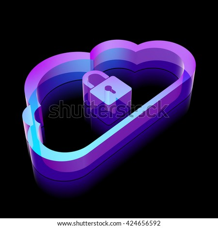 Cloud networking icon: 3d neon glowing Cloud With Padlock made of glass with reflection on Black background, EPS 10 vector illustration. - stock vector