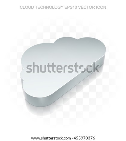 Cloud networking icon: Flat metallic 3d Cloud, transparent shadow on light background, EPS 10 vector illustration. - stock vector