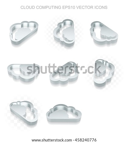 Cloud networking icons set: different views of flat 3d metallic Cloud icon with transparent shadow on white background, EPS 10 vector illustration. - stock vector