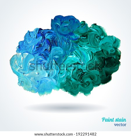 Cloud of blue and green oil paints isolated on white, abstraction composition. Vector design. - stock vector