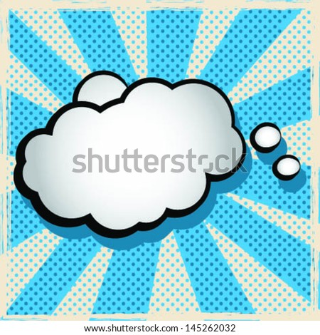 Cloud of Thought Over Vintage Background - stock vector
