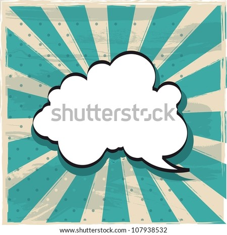 cloud of thought over vintage background. vector illustration - stock vector