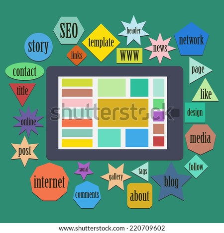 cloud of words or tags related to web or website design and digital tablet - stock vector