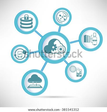 cloud operation, cloud computing concept - stock vector