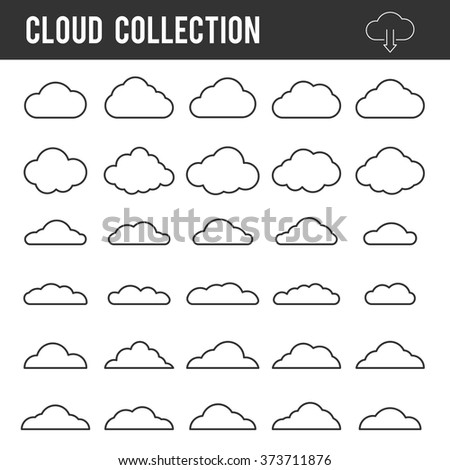 Cloud outline collection. Vector icon line set template for web design and app - stock vector