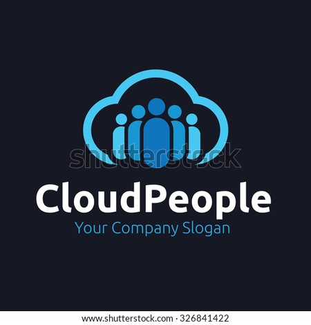 Cloud People,Cloud Logo,Vector Logo Template - stock vector