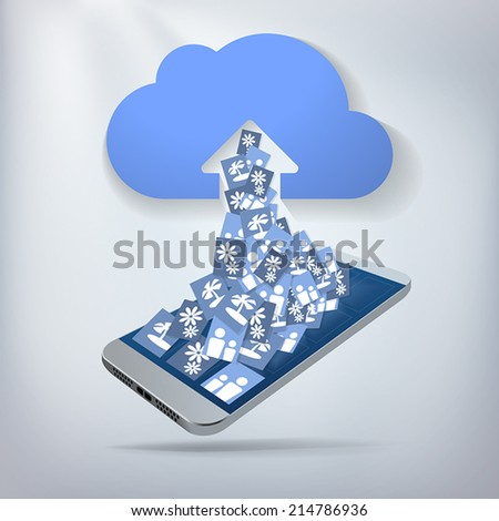 Cloud Photo Upload. Concept with cloud backup of smartphone photos. Layered file for easy customization. Fully scalable vector illustration. - stock vector