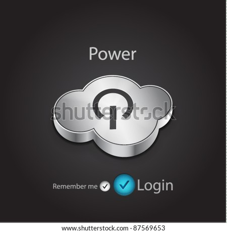 Cloud power button - stock vector