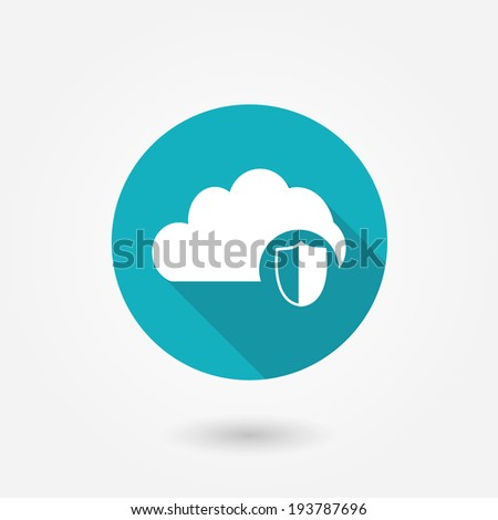 Cloud Protection Icon : Cloud Computing Concept in flat style with long shadow - stock vector