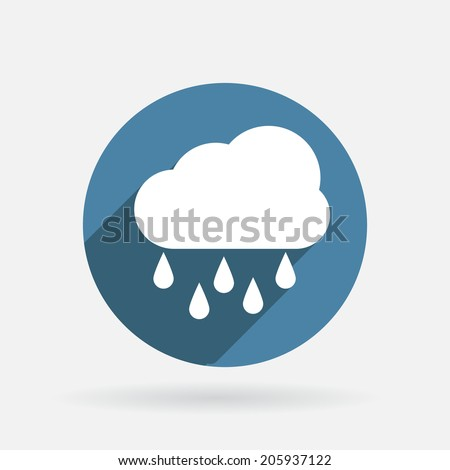 cloud rain. Circle blue icon with shadow - stock vector