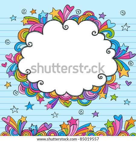 Cloud Rainbow Colored Frame Sketchy Doodle- Hand-Drawn Notebook Doodles Design Elements on Lined Sketchbook Paper Background- Vector Illustration - stock vector