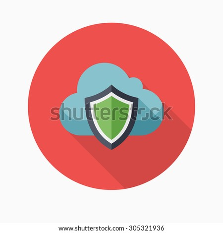 Cloud security icon, vector illustration. Flat design style with long shadow,eps10 - stock vector