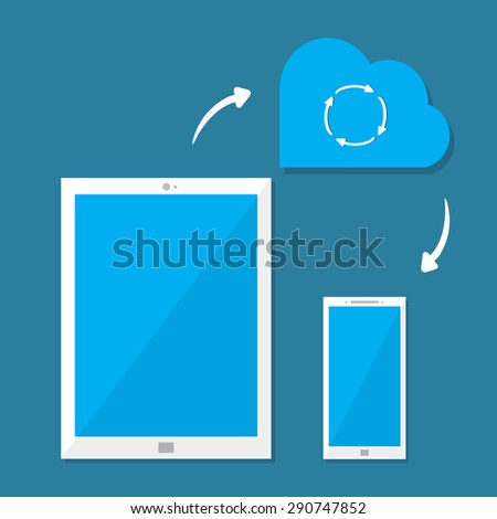 Cloud service and digital device ( smartphone, tablet) in flat style. Concept  synchronize  technology. Vector illustration. - stock vector