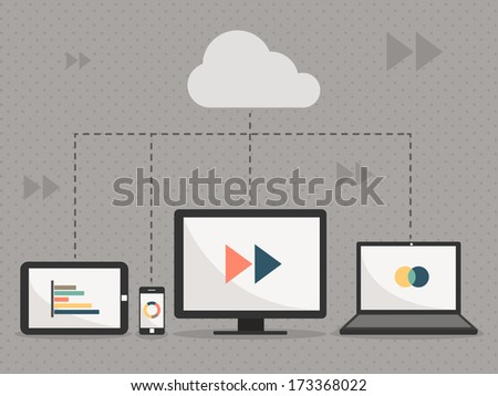 cloud service communication with tablet & smartphone & computer and notebook vector - stock vector