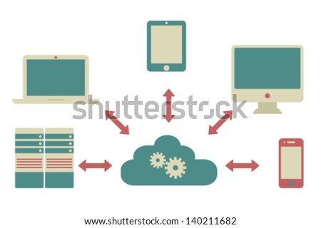 cloud service. flat design elements - stock vector