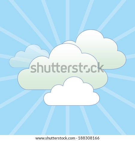 Cloud Services Icon Composition with blue Sky, suitable for nature Background