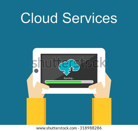 Cloud services on gadget. Sync with cloud computing.