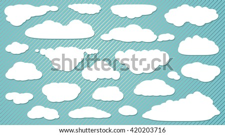 Cloud set, Icon collection, doodle Art, logo. Sky Flat logo.Hand drawn design, vector illustration.