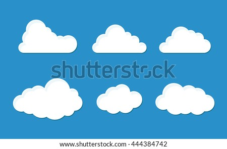 Cloud set with six fluffy styles