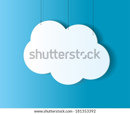 Cloud shaped badge, tag, banner, label and bookmark with space for text. Vector illustration - stock vector