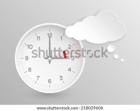 Cloud shaped speech bubble and vector clock with hands at 3 o'clock and an red arrow symbolizing the hour backward to 2 o'clock for the change of time in autumn, fall in Europe on silver background. - stock vector
