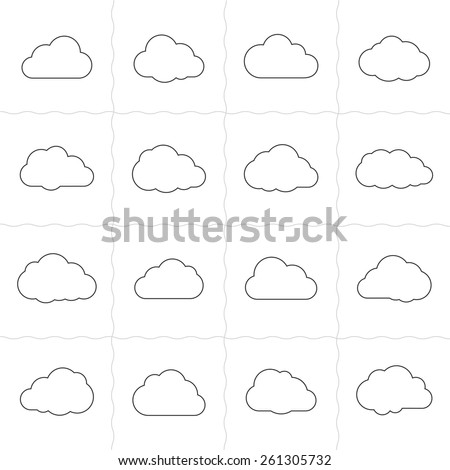 Cloud shapes linear icons. Cloud icons for cloud computing web and app. Simple outlined icons. Linear style - stock vector