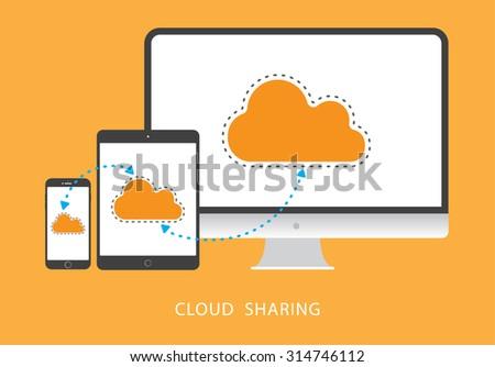 Cloud sharing flat design set - stock vector